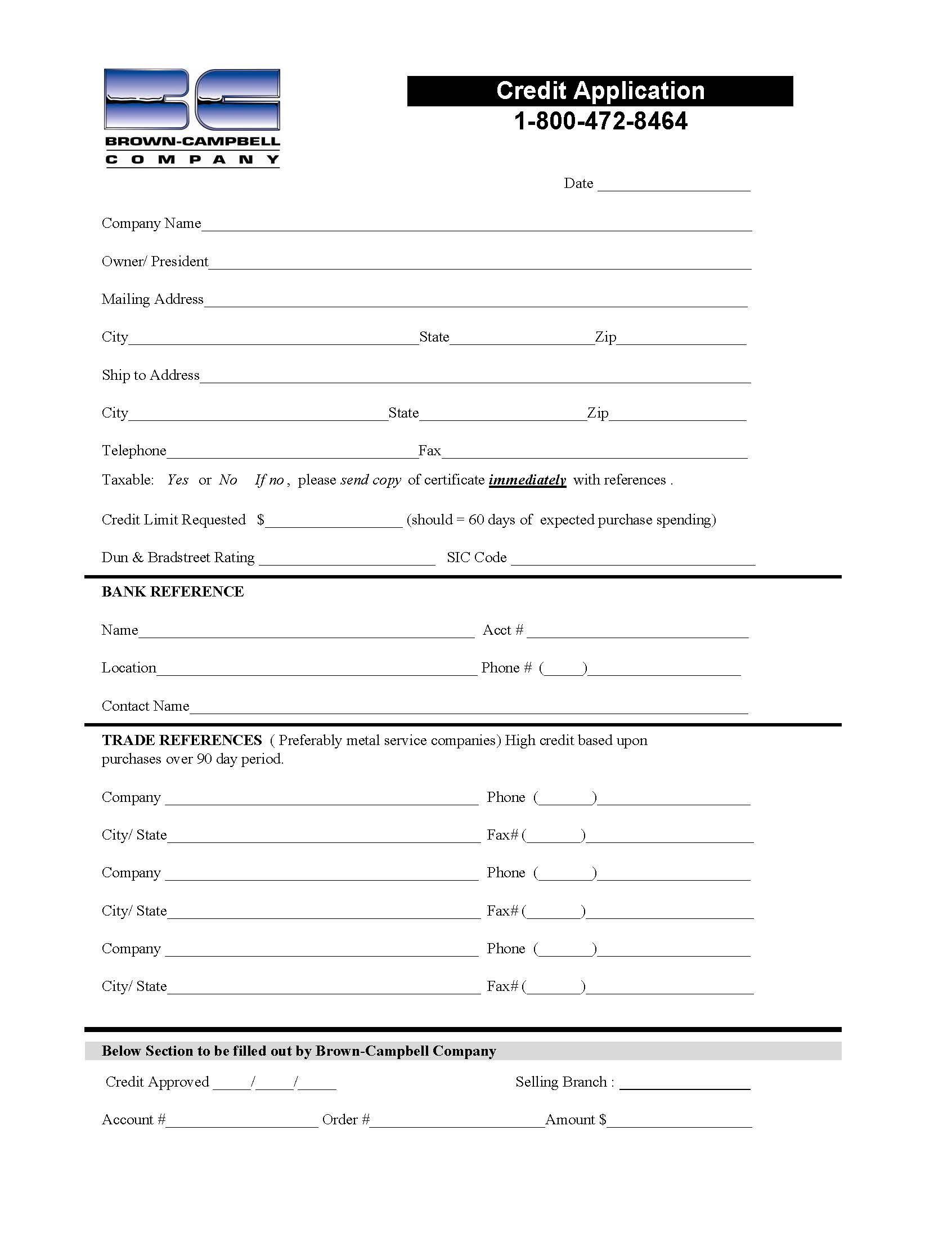 Brown-Campbell Credit Application