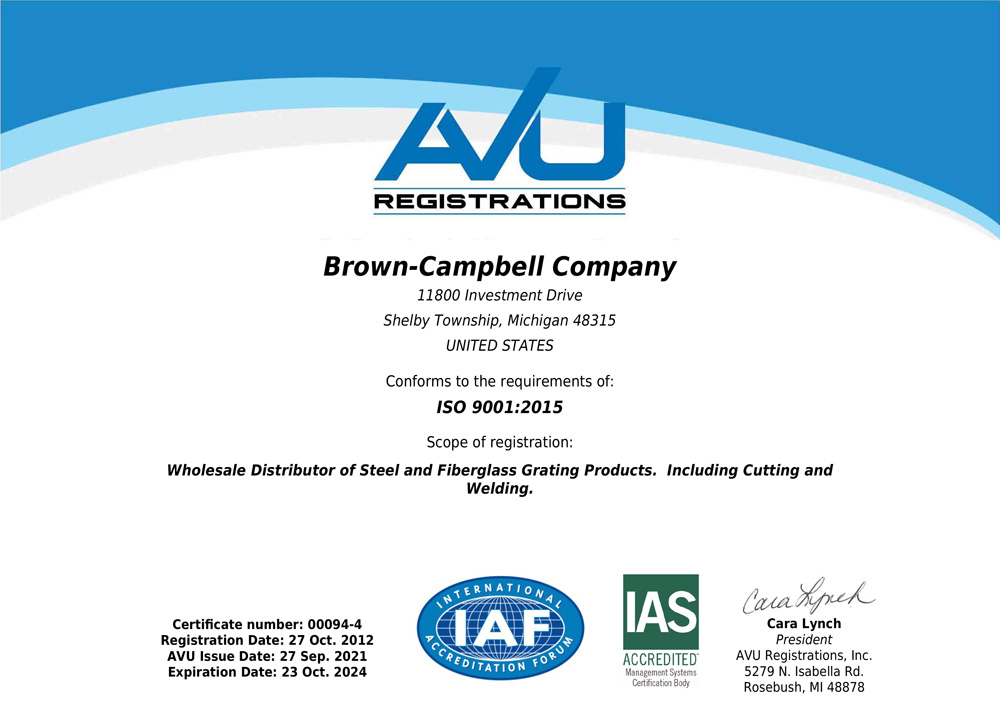 Brown-Campbell Company - ISO Certification