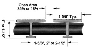 "Pultruded 1"" & 1-/2"" T-Bar Fiberglass Diagram"