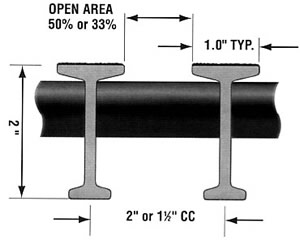 "Pultruded 2"" T-Bar Fiberglass Diagram"